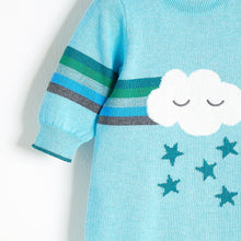 将图片加载到图库查看器,GRAFFITI - Rainbow Cloud Intarsia Playsuit - Baby Boy - Pale blue