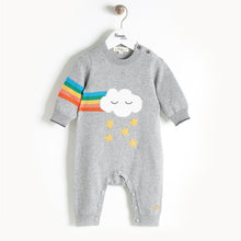 将图片加载到图库查看器,GRAFFITI - Rainbow Cloud Intarsia Playsuit - Baby Unisex - Grey