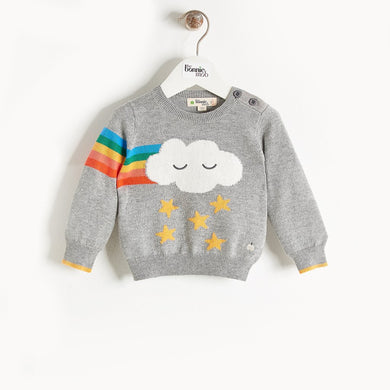 GRANDMASTER - Rainbow Cloud Intarsia Sweater - Kids Unisex - Grey