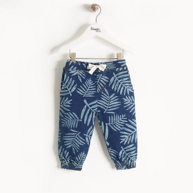 HARPER - Baby - Trouser - DENIM PALM PRINT