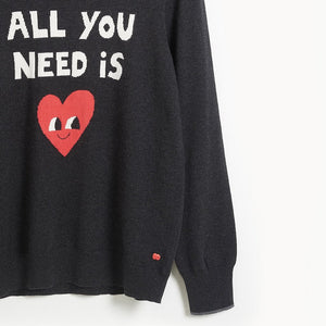 IMAGINE MUM - 'ALL YOU NEED IS LOVE' Mum Sweater - CHARCOAL