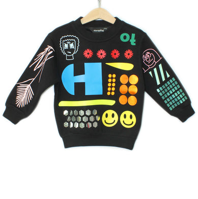 17-S EVERYTHING ALL OVER - Sweater - BLACK