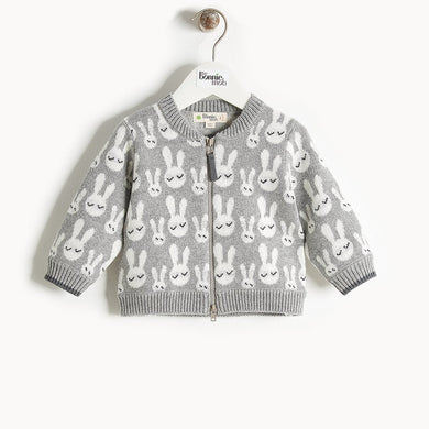 JONES - Bunny Jaquard Cardigan - Baby Unisex - Grey