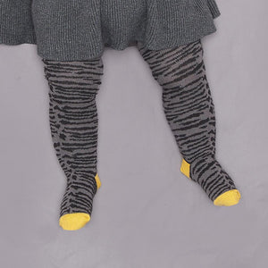 KING - Unisex Baby Tiger Stripe Tights - Grey