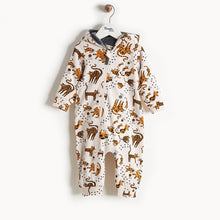 将图片加载到图库查看器,KIP - Printed Hooded Onesie With Faux Fur Lining - Baby Boy - Teal cat print