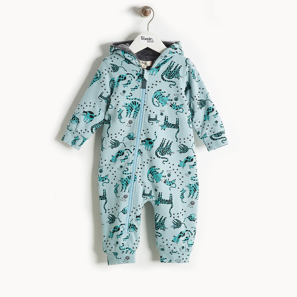 KIP - Printed Hooded Onesie With Faux Fur Lining - Baby Boy - Teal cat print