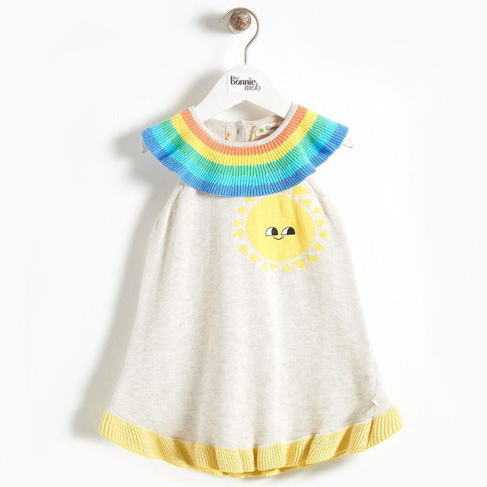 KLIMT - Rainbow Collar Knitted Baby Dress - Putty