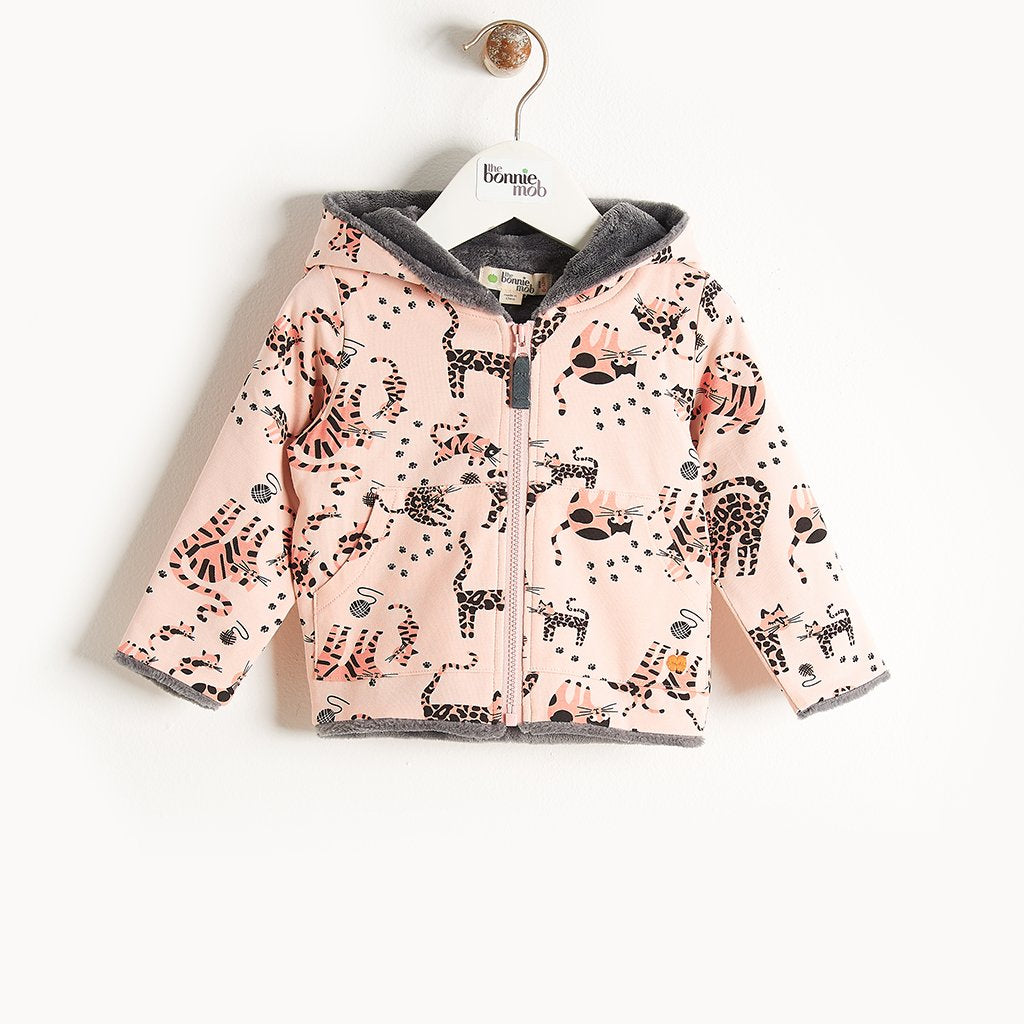 KOOPA - Printed Hoodie Lined With Faux Fur - Baby Girl - Pink cat print