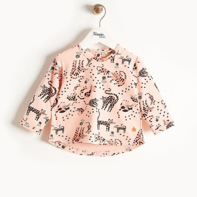 KRAZY - Long Sleeves Printed T-Shirt - Kids Girl - Pink Cat print