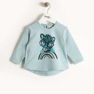 KRAZY - Long Sleeves Printed T-Shirt - Kids Boy - Teal Leopard print