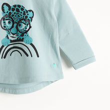 將圖片載入圖庫檢視器 KRAZY - Long Sleeves Printed T-Shirt - Kids Boy - Teal Leopard print