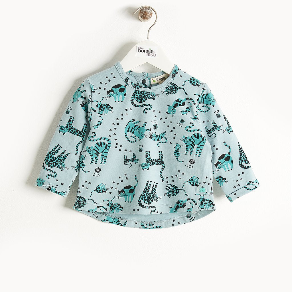 KRAZY - Long Sleeves Printed T-Shirt - Baby Boy - Teal cat print