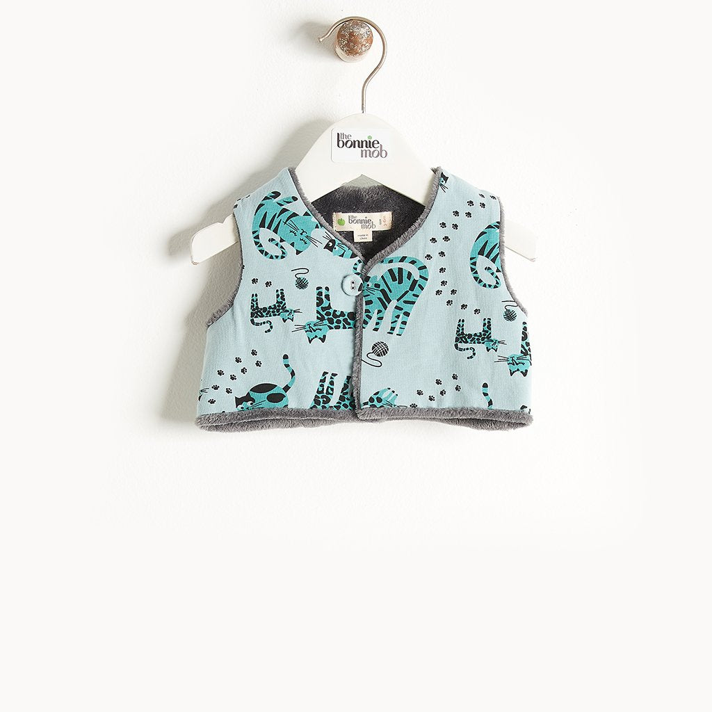 KUDDLES - Reversible Gilet With Faux Fur Lining - Baby Boy - Teal cat print