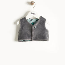 将图片加载到图库查看器,KUDDLES - Reversible Gilet With Faux Fur Lining - Baby Boy - Teal cat print