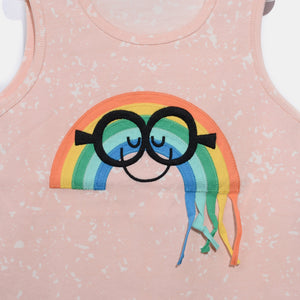 L-AIDEN-Smiley Rainbow Tassel Vest-Baby Girl-Blush