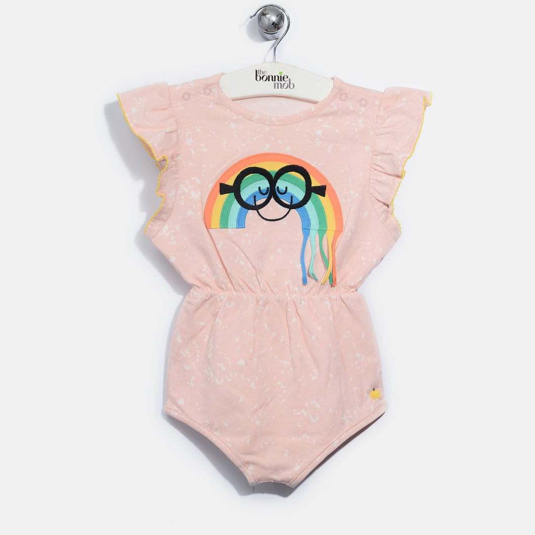 L-ANNA-Smiley Rainbow Tassel Shorty Romper-Kids Girl-Blush