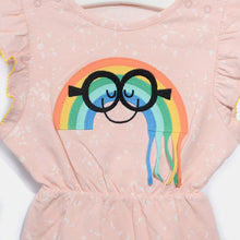 将图片加载到图库查看器,L-ANNA-Smiley Rainbow Tassel Shorty Romper-Kids Girl-Blush