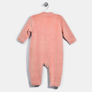 L-CLARA-Velour Applique Playsuit-Baby Girl-Pink