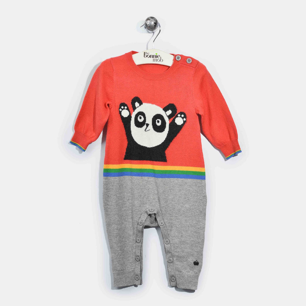 L-GLEN-Panda Playsuit-Baby Girl-Red