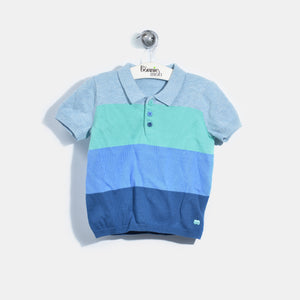 L-NILE-Colourblock Polo Shirt-Kids Boy-Blue