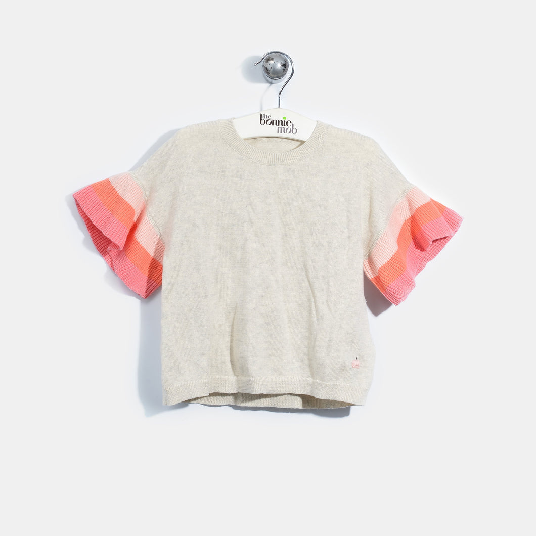 L-NISHA-Colourblock Ruffle Sleeve Top-Kids Girl-Blush