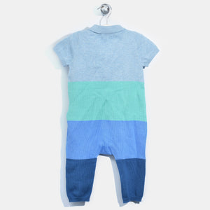 L-NOELLE-Colourblock Polo Playsuit-Baby Boy-Blue