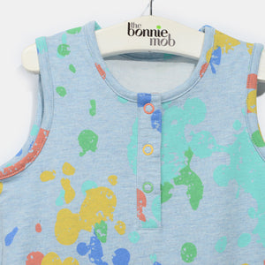 L-RIAN-Splatter Print Romper-Kids-Faded Denim