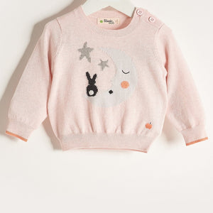 LALA - Baby Girl Knitted Moon & Bunny Sweater - Pale Pink