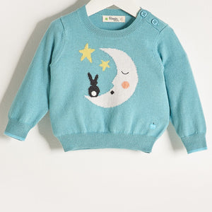 LALA - Unisex Baby Knitted Moon & Bunny Sweater - Pale Teal