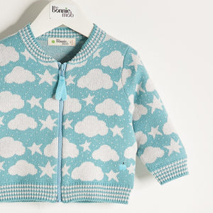 LOON - Knitted Stars & Clouds Zip Cardigan - Pale Teal