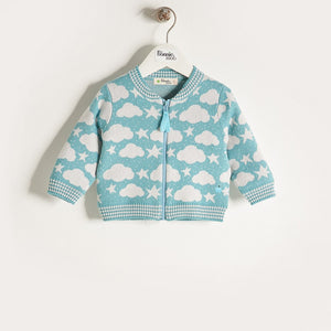 LOON - Unisex Baby Knitted Stars & Clouds Zip Cardigan - Pale Teal