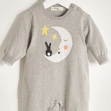 将图片加载到图库查看器,LUNA - Unisex Baby Knitted Moon & Bunny Playsuit - Greys
