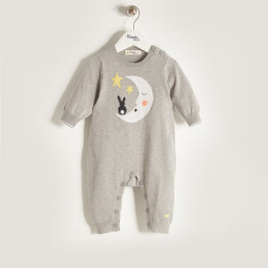 LUNA - Unisex Baby Knitted Moon & Bunny Playsuit - Greys