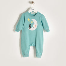 将图片加载到图库查看器,LUNA - Unisex Baby Knitted Moon & Bunny Playsuit - Pale Teal