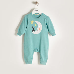 LUNA - Unisex Baby Knitted Moon & Bunny Playsuit - Pale Teal
