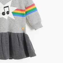 将图片加载到图库查看器,MAGGIE - Girls Rainbow Music Intarsia Dress  - GREY