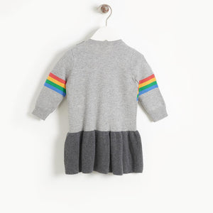 MAGGIE - Girls Rainbow Music Intarsia Dress  - GREY