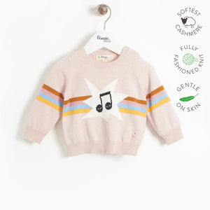 MANHATTAN - Kids Rainbow Music Intarsia Sweater  - PINK