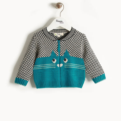 MARIO - Cat Intarsia Cardigan - Kids Boy - Teal