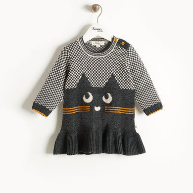 MISSY - Cat Intarsia Dress - Kids Girl - Monochrome