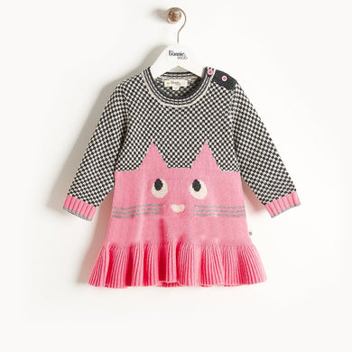 MISSY - Cat Intarsia Dress - Kids Girl - Pink