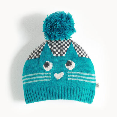 MOE - Cat Intarsia Hat - Baby Boy - Teal