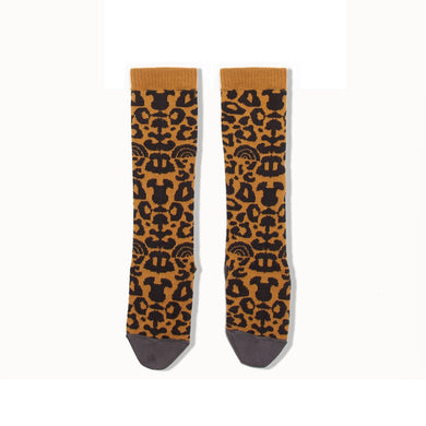 NORI - Leopard Print Knee Length Socks - Baby Girl - Honey