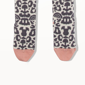 NORI - Leopard Print Knee Length Socks - Baby Girl - Charcoal