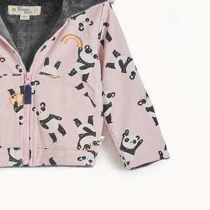 PARKER - Kids Panda Hoodie Lined with Faux Fur  - PINK