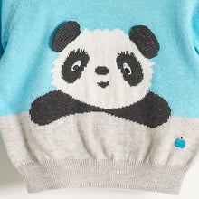 将图片加载到图库查看器,PAX - Baby Boy Knitted Panda Sweater - Pale Blue