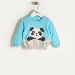 PAX - Baby Boy Knitted Panda Sweater - Pale Blue