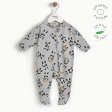 將圖片載入圖庫檢視器 PEPPER - Baby Zip Front Panda Sleepsuit - GREY