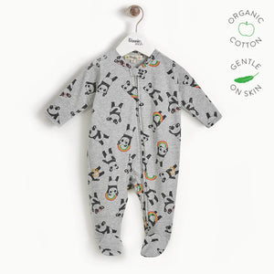 PEPPER - Baby Zip Front Panda Sleepsuit - GREY