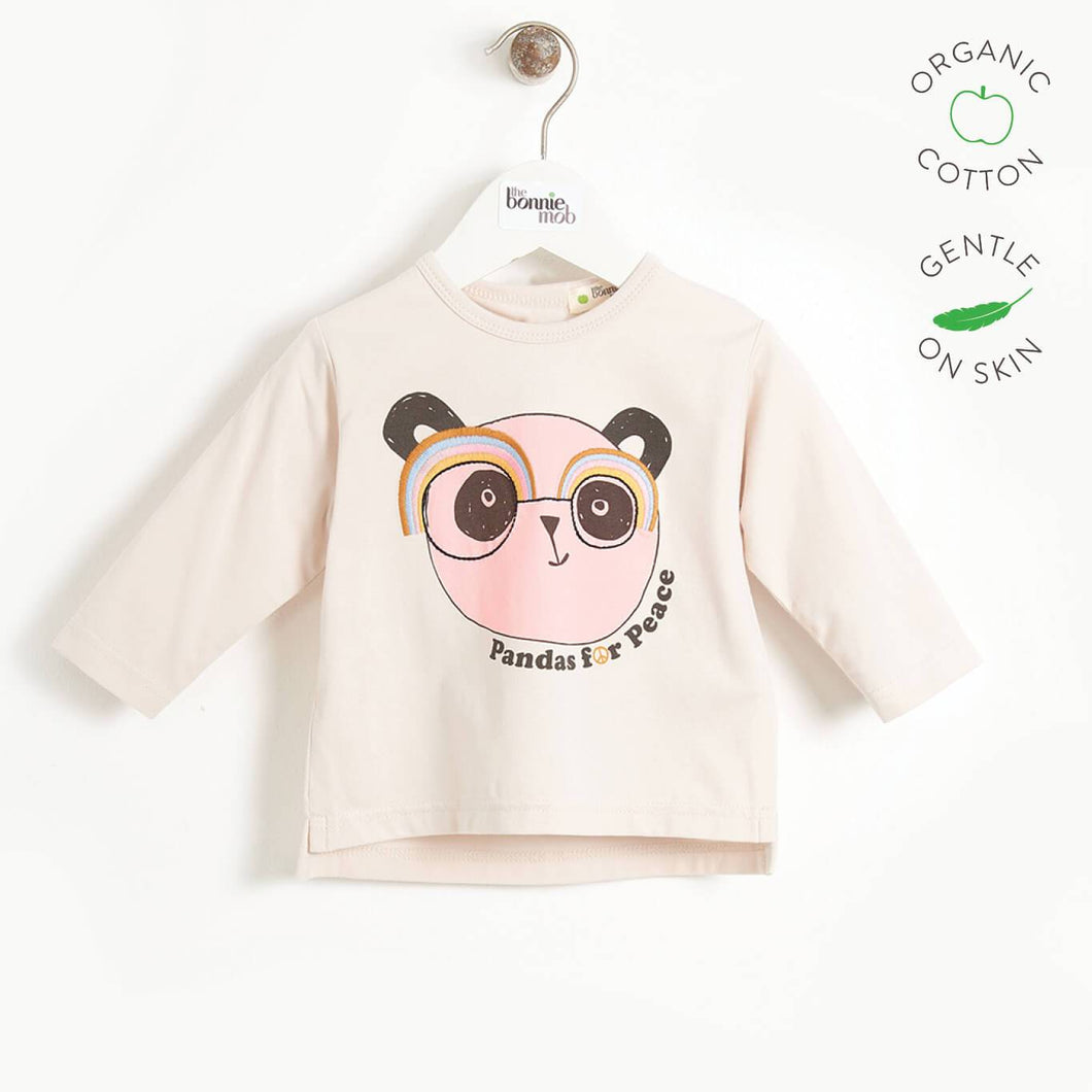 PLEASE - Kids Long Sleeve Panda T-shirt  - SAND PLACED